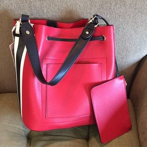 Urban Expressions Red Hudson Bucket Bag/New
